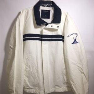 Nautica Classic zip up White jacket mesh lined XL
